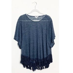 Umgee Oversized Fringe Trim Top Short Sleeve Blue